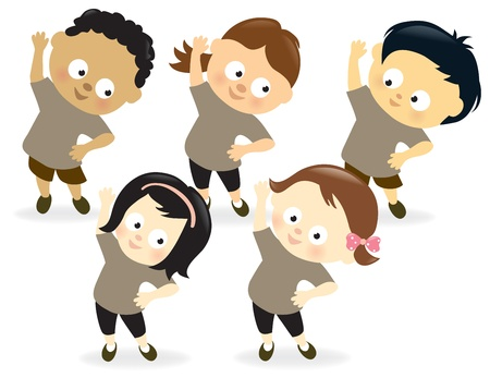 Kids exercising Illustration