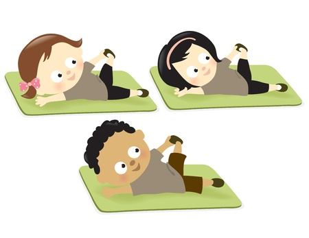 stretching exercise: Kids exercising on mat Illustration