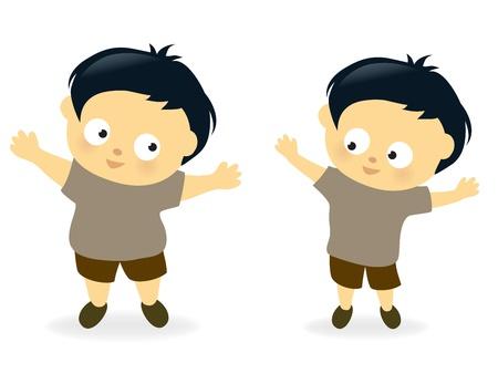 Obese kid before and after Reklamní fotografie - 15059221