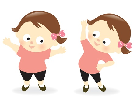 exercise cartoon: Obese girl before and after