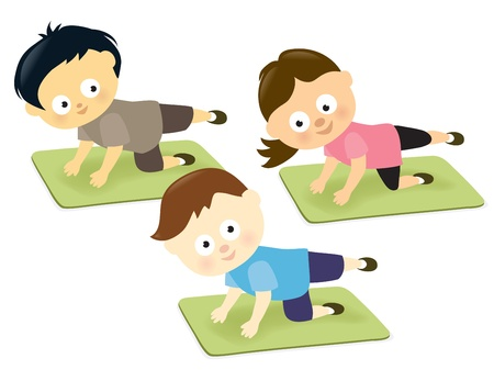 legs up: Kids working out on mats