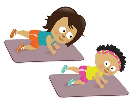 kids having fun: Mother and daughter working out