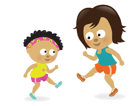 kids having fun: Mother and daughter exercising