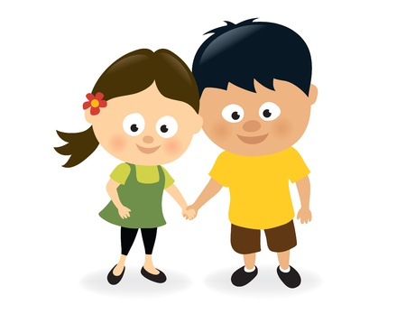 children holding hands: Girl and boy holding hands