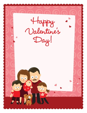 Valentines Day flyer with family Vector