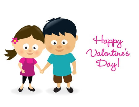 hand holding flower: Valentines girl and boy Illustration