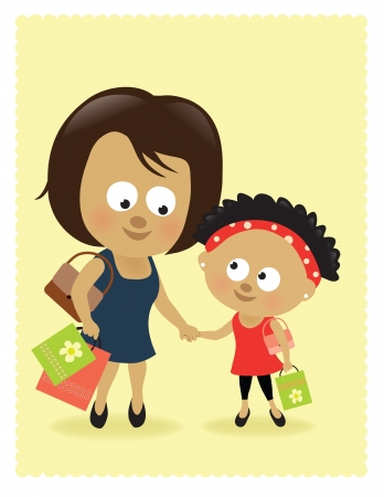 Mother and daughter shopping Stock Vector - 17288464