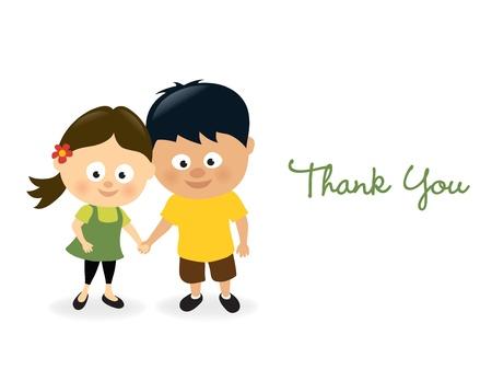 hand holding card: Dank je wel meisje en jongen Stock Illustratie