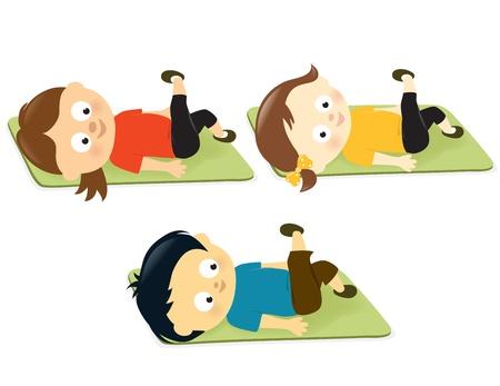 Illustration of kids exercising on mats Stock Illustratie