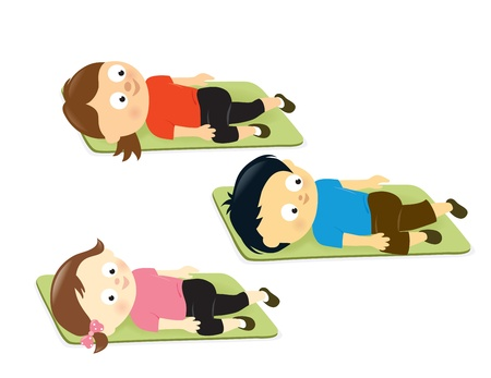 health and fitness: Kids stretching on mats Illustration