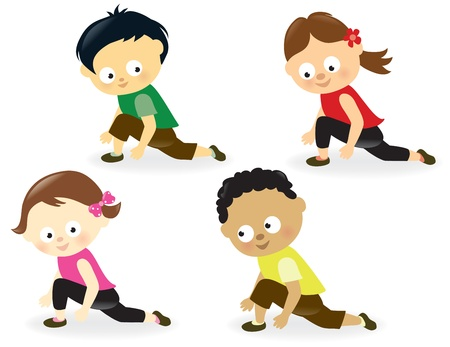 workout gym: Kids doing leg stretches Illustration