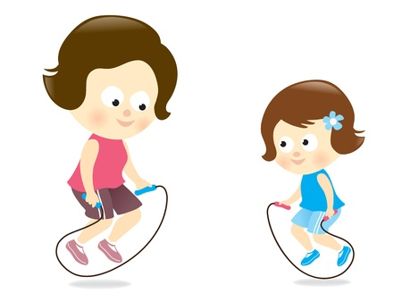 people having fun: Mother and daughter jumping rope