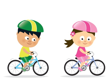 Girl and boy biking  Vector