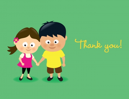 hand holding flower: Kids thank you Illustration