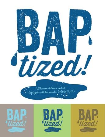 baptism: Vintage cristiano dise�o - Bautizado Vectores