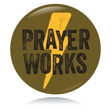 Vintage Christian button, Prayer works Vector