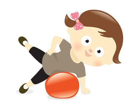 exercise ball: Girl exercising with ball  Illustration