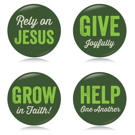 rely: Vintage Christian buttons, green