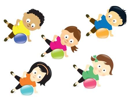 pilate: Enfants exer�ant avec boule