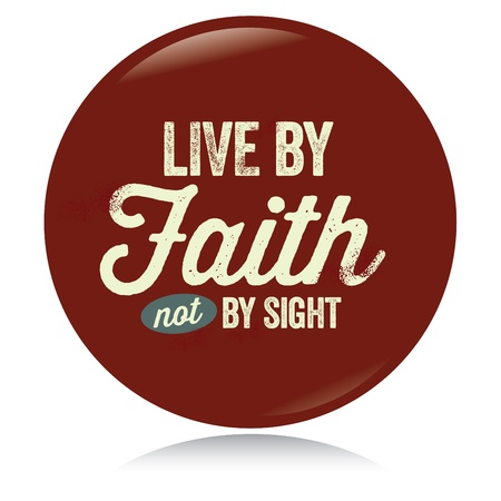 Vintage Christian button, Live by Faith Illustration