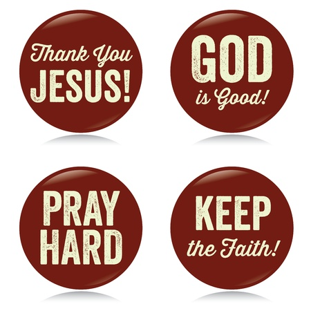 Vintage Christian buttons, red Vector
