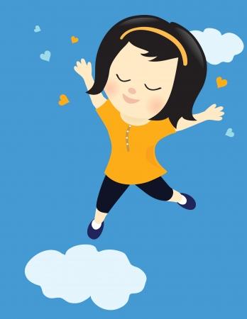 クラウド ナインの幸せな女の子  イラスト・ベクター素材