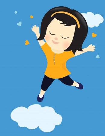 high spirits: Happy girl on cloud nine