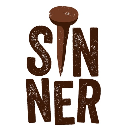 christian clip: Vintage Christian design, Sinner Illustration