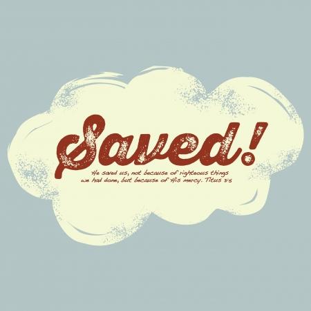 stamped: Vintage Christian design, Saved