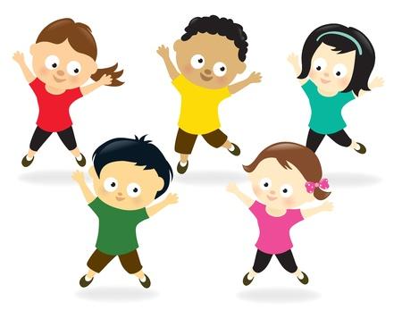 educacion fisica: Ilustraci�n de ni�os saltando