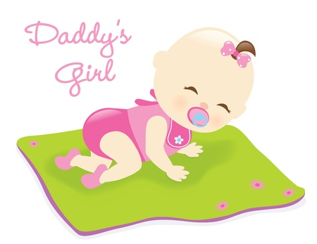 毛布に女の赤ちゃん  イラスト・ベクター素材