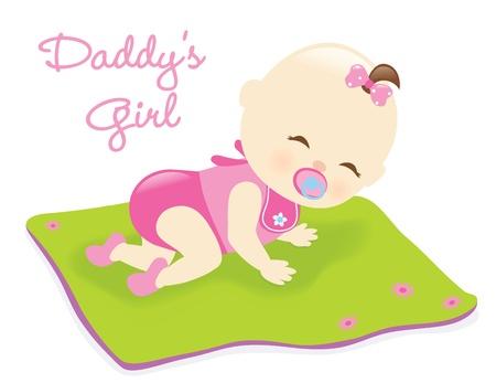 Baby girl on blanket