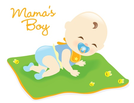 Baby boy on blanket Vector