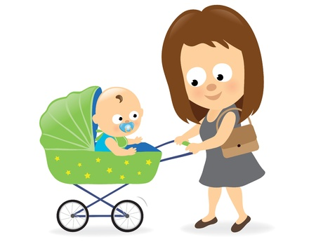 baby and mother: Woman with baby carriage 2 Illustration