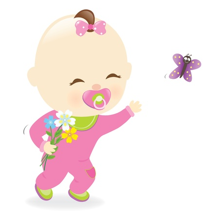 Baby girl holding flowers Ilustrace