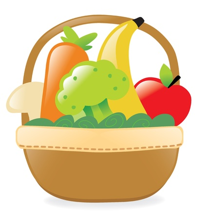 Fresh fruits and veggies in a basket Illustration