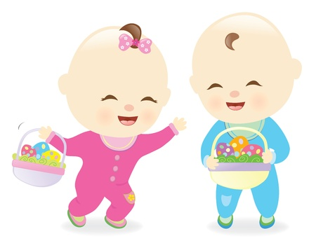 Babies holding Easter baskets Vector