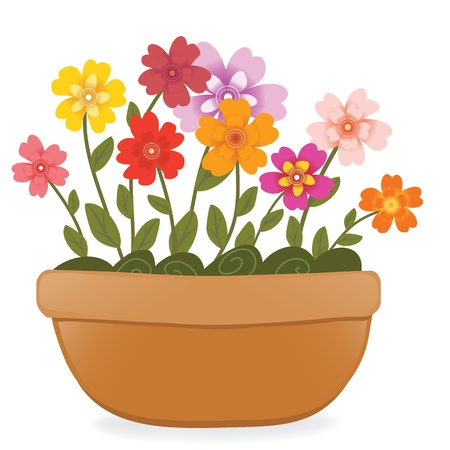 flowers cartoon: Flower pot