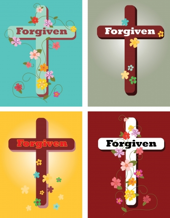 Floral set of crosses, Forgiven Vector