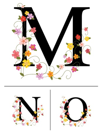 Decorative super caps letters M, N, O, Vector