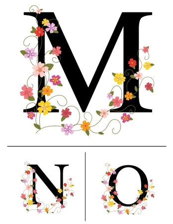 initials: Decorative super caps letters M, N, O,