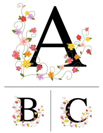 Decorative super caps letters A, B, C, Vector
