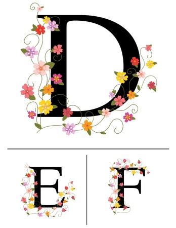initials: Decorative super caps letters D, E, F,