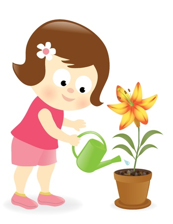 watering pot: Girl watering lily flower