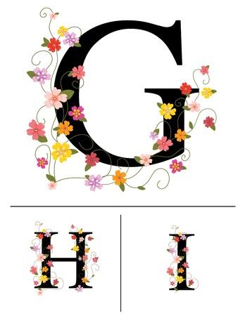 Decorative super caps letters G, H, I Stock Vector - 18987273