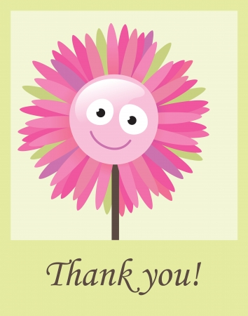 Flower thank you card Illustration
