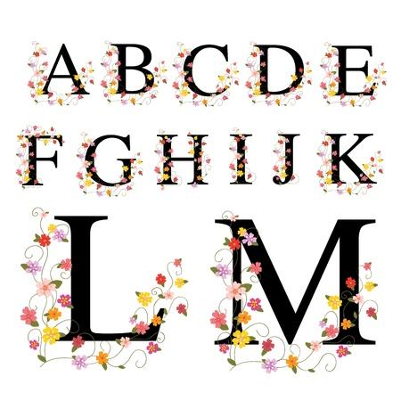 initials: Decorative alphabet A-M Illustration