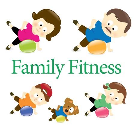 obesidad: Gimnasio Familia con pelota de ejercicio Vectores