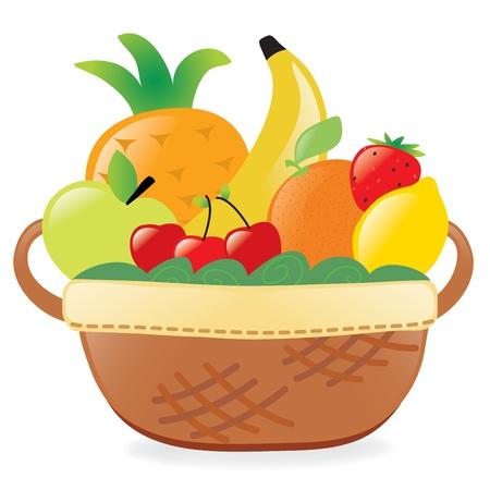 Fruits in a basket Vettoriali
