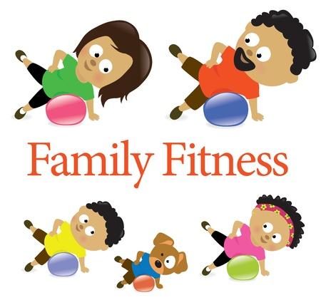 Familie fitness met oefening bal